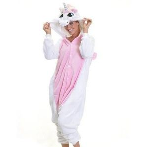 Other - Pink White unicorn onesie costume- large